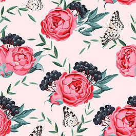 粉色花朵果子蝴蝶圖案圖片1