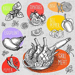 素描蔬菜牛排插畫圖片