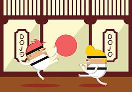 跆拳道矢量插画