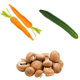 美食實物圖蔬菜 胡蘿卜黃瓜蘑菇