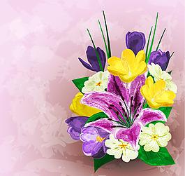 水彩繪百合花