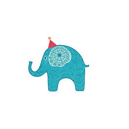 簡約時尚創意文藝卡通手繪藍色的大象