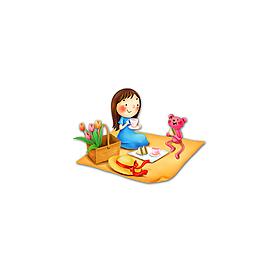 可愛文藝簡約卡通野餐