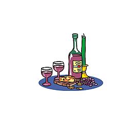 唯美甜蜜卡通动漫手绘烛光晚餐红酒
