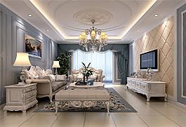 歐式時尚客廳電視墻沙發設計圖