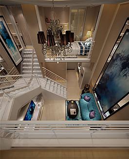 歐式室內樓梯吊燈設計圖