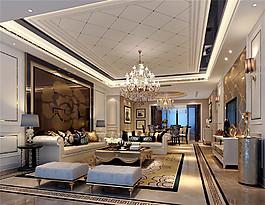 歐式時尚客廳茶幾沙發設計圖