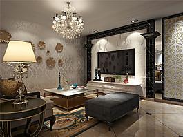歐式時尚客廳電視墻設計圖