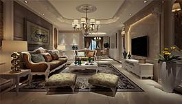 歐式時尚客廳沙發電視墻設計圖