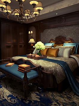 歐式時尚臥室大床床尾凳設計圖