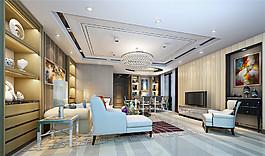 歐式簡約客廳吊頂電視墻設計圖