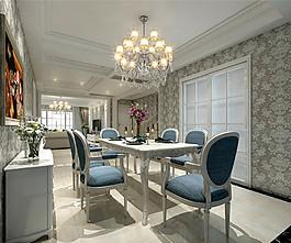 歐式時尚餐廳藍色桌椅設計圖