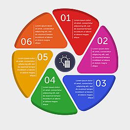 六步循環彩色圓形信息圖設計