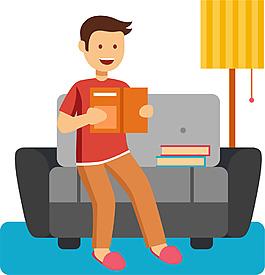 可愛卡通男女家庭人物工作生活睡覺看書