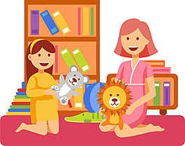 可愛卡通男女家庭人物工作生活睡覺玩耍