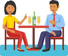 可愛卡通男女家庭人物工作生活睡覺聚餐