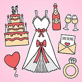 美麗的婚紗禮服與其他裝飾元素圖標