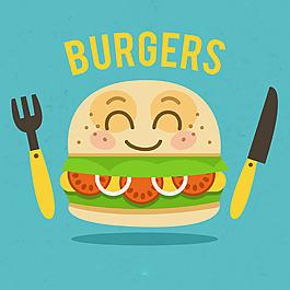 快樂的漢堡人物餐具藍色背景