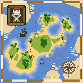 扁平风格海盗宝藏路线图背景