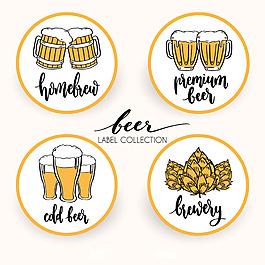 手繪啤酒圓形貼圖