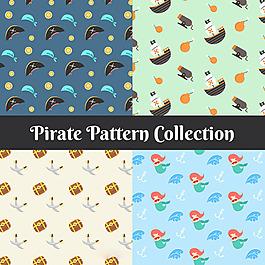 幾種海盜元素圖案平面設計背景