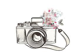 矢量卡通手繪線稿相機產品促銷創意元素設計
