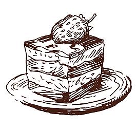 矢量卡通可愛手繪線稿甜點蛋糕商業促銷素材