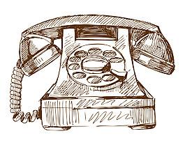 卡通手繪矢量線稿復古電話裝飾圖案創意元素