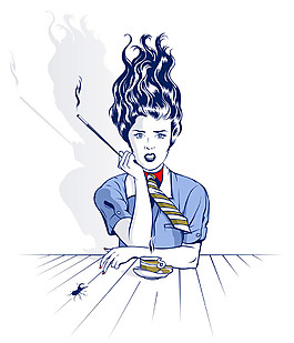 抽煙的卡通女人圖片