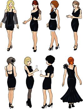 黑公裙子美女漫畫圖片