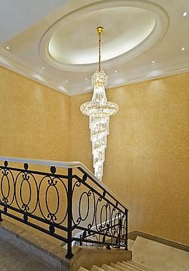 豪華別墅樓梯及吊燈裝修效果圖