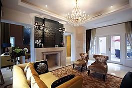歐式客廳吊燈背景墻設計圖