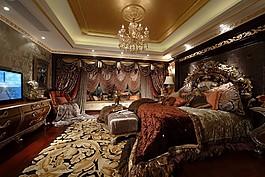 歐式臥室吊燈背景墻設計圖
