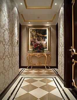 歐式室內走廊背景墻設計圖
