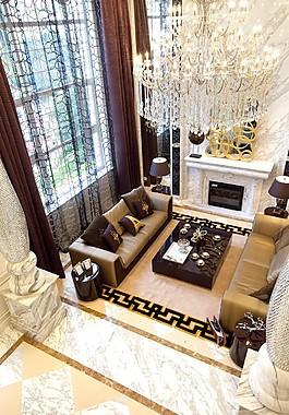 歐式大廳吊燈落地窗設計圖