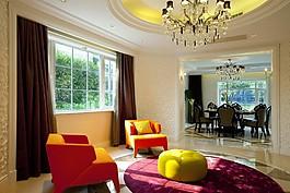 歐式大廳吊燈窗戶設計圖