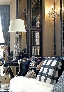 豪華客廳壁燈背景墻設計圖