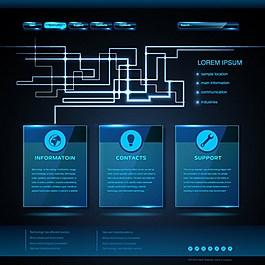 藍色科技圖框矢量背景