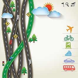 交通出行矢量背景