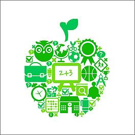矢量綠色花紋蘋果元素