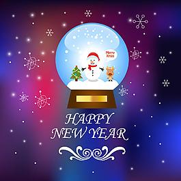 圣誕雪花水晶球背景素材