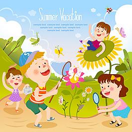 卡通向日葵人物素材設計