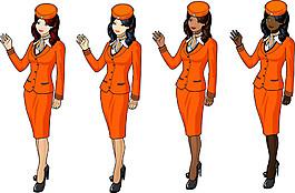 卡通空姐美女漫畫圖片