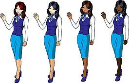卡通空姐美女圖片