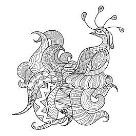 卡通孔雀插畫圖片