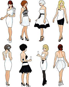卡通禮服女孩圖片