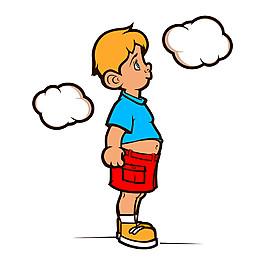 思考的卡通男孩圖片