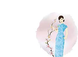 女性与花纹