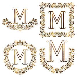 M花紋英文字母組合圖片