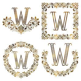W花紋字母組合圖片